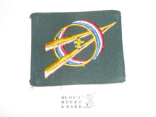 Explorer Scout Universal Emblem from the 1970's in Green with fold under edge