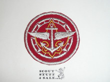 Universal Senior Scout  and Explorer Emblem Patch on Red (EX-07), CAW Design, Lite Use