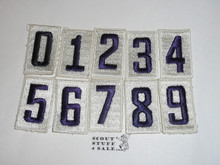 Sea Scout Unit Numbers, Complete set of White Embroidered 0-9