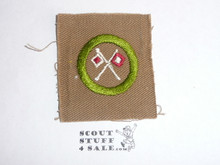Signaling - Type A - Square Tan Merit Badge (1911-1933), near mint