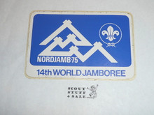 1975 World Jamboree Rectangular Sticker, White/blue