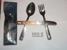 1960's Official Boy Scout Fork Knife and Spoon Set in Case, By Imperial