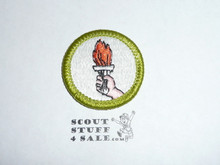 Sports (Green bdr)- Type H - Fully Embroidered Plastic Back Merit Badge (1972-2002)