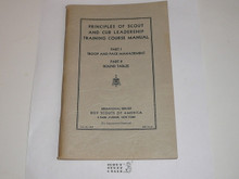 "Principles of Scout Leadership Part I and II, Scout and Cub Leadership Training Course Manual, 1st printing ""for experimental purposes"", 12-38 printing"