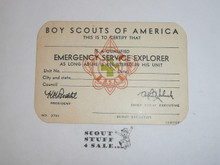 Emergency Service Explorer Member Card, Boy Scouts of America, 7-57 printing, Blank