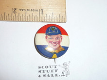 Front view Cub Scout Red/White/Blue Celluloid Boy Scout Button, 1940's