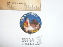 I'm a Camper (Norman Rockwell) Celluloid Boy Scout Button, 1930's