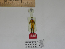 I Gave (With Standing uniformed Scout) Boy Scout Tin Button, 1960's-70's