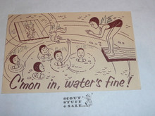Girl Scout Post card, C'mon in Waters Fine!, tan, 1962 #2
