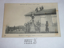 Scouts Practice Wall Scaling, Official Boy Scout Post card, 1915