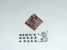 Wolf Cub Scout Rank Pin, Stamped Copper with crude clasp, EARLY
