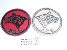 Wolf Patrol Medallion, Red Twill with gum back, 1955-1971