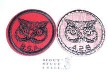 Owl Patrol Medallion, Felt w/BSA black/White ring back, 1940-1955