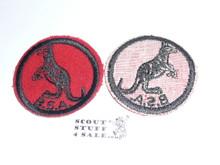 Kangaroo Patrol Medallion, Felt w/BSA & Solid Black Ring back, 1933-1939