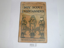 1920 Boy Scout Entertainments, by Lieutenant Clifton Lisle, no back cover and wear to spine and cover