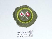 Signaling - Type E - Khaki Crimped Merit Badge (1947-1960)