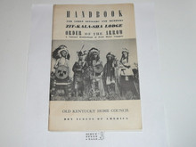 Zit-Kala-Sha Lodge Handbook for Officers and Members, 1956