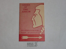 Order of the Arrow Information For New Members, 1962, 10-62 Printing