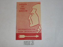 Order of the Arrow Information For New Members, 1961, 3-61 Printing
