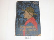 1936 Boy Scout Handbook, Third Edition, Twenty-third Printing, Norman Rockwell Cover, lt use with cover and edge wear, lite splatter from food at the bottom of cover