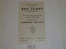 1947 Boy Scout Handbook Supplement, Realigned Boy Scout Requirements, 4-47 printing