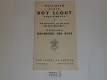 1947 Boy Scout Handbook Supplement, Realigned Boy Scout Requirements, 1-47 printing