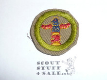 Wood carving - Type C - Tan Crimped Merit Badge (1936-1946), was sewn but in very good condition