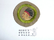 Pathfinding - Type B - Wide Crimped Bdr Tan Merit Badge (1934-1935), was sewn but in very good condition