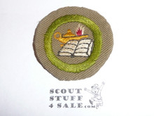 Reading - Type B - Wide Crimped Bdr Tan Merit Badge (1934-1935), was sewn but in very good condition