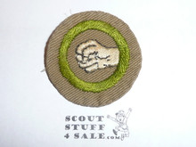 Physical Development - Type B - Wide Crimped Bdr Tan Merit Badge (1934-1935), was sewn but in very good condition