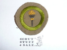 Public Health - Type B - Wide Crimped Bdr Tan Merit Badge (1934-1935), was sewn but in very good condition