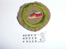 Leatherwork - Type B - Wide Crimped Bdr Tan Merit Badge (1934-1935), was sewn but in very good condition