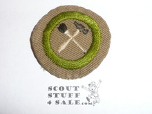 Handicraft / Home Repairs - Type B - Wide Crimped Bdr Tan Merit Badge (1934-1935), was sewn but in very good condition