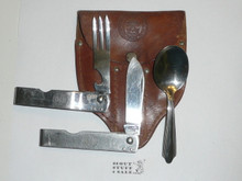 1940's Official Boy Scout Eating Utensil Set, Made By Imperial, With Leather Case, Light Use, Case Needs Some Restitching
