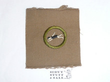 Swimming - Type A - Square Tan Merit Badge (1911-1933), TEENS variety, huge piece of cloth, BSA emblem on back and brown printed stripe