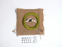 Swimming - Type A - Square Tan Merit Badge (1911-1933), lt use