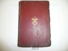 1918 Boy Scout Handbook, Second Edition, Eighteenth Printing, Red Leather binding, Leather darkening at cover edges and spine
