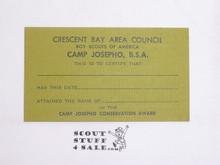 1960's CBAC Camp Josepho Conservation Award Card