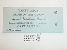 1959 Tamet Lodge Order of the Arrow Annual Installation Banquet Ticket, Sept 12, 1959
