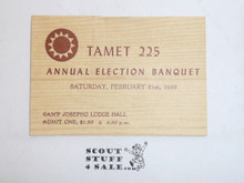 1959 Tamet Lodge Order of the Arrow Annual Election Banquet Ticket, Feb 21, 1959