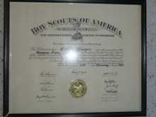 1963 Silver Beaver Award Certificate, presented, Framed
