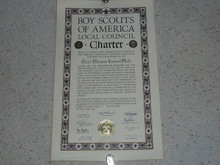 1956 Council Charter Certificate, Chief Okemos Council, Original Arthur Schuck Signature, 40 year Veteran