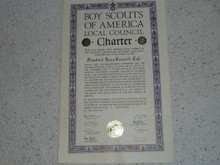 1955 Council Charter Certificate, Stanford Area Council, Original Arthur Schuck Signature, 15 year Veteran