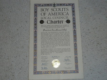 1953 Council Charter Certificate, Stanford Area Council, Original Arthur Schuck Signature, 10 year Veteran
