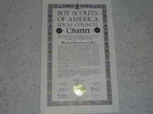 1951 Council Charter Certificate, Stanford Area Council, Original Arthur Schuck Signature, 10 year Veteran
