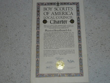 1949 Council Charter Certificate, Stanford Area Council, Original Arthur Schuck Signature, 5 year Veteran