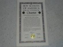 1948 Council Charter Certificate, Stanford Area Council, Original Elbert Fretwell Signature, 5 year Veteran