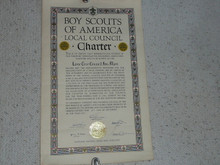1945 Council Charter Certificate, Lone Tree Council, Original Elbert Fretwell Signature, 15 year Veteran