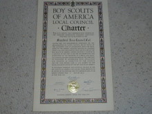 1943 Council Charter Certificate, Stanford Area Council, Original Elbert Fretwell Signature
