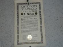 1938 Council Charter Certificate, Delta Council, Original James E West Signature, 10 year Veteran Council